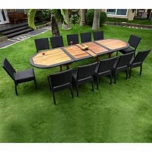 Salon De Jardin Table : salon de jardin teck et resine tressee meuble tables de ~ Teatrodelosmanantiales.com Idées de Décoration