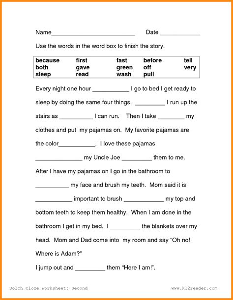 printable worksheets for 2nd graders reading grade reading