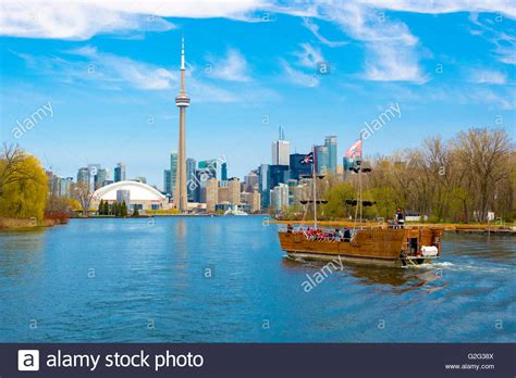 Lake Ontario Boat Tours by Cn Tower In Toronto Skyline Seen From Lake Ontario Pirate