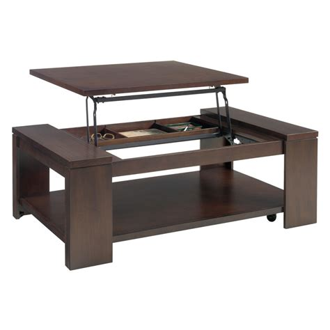 I made a coffee table lift (# 1) using a vika amon plate and a trestle (in any hardware store) which i adapted some curtain rods to make it slide (# 3 and #4). Coffee Table With Lift Top Ikea Storage | Roy Home Design