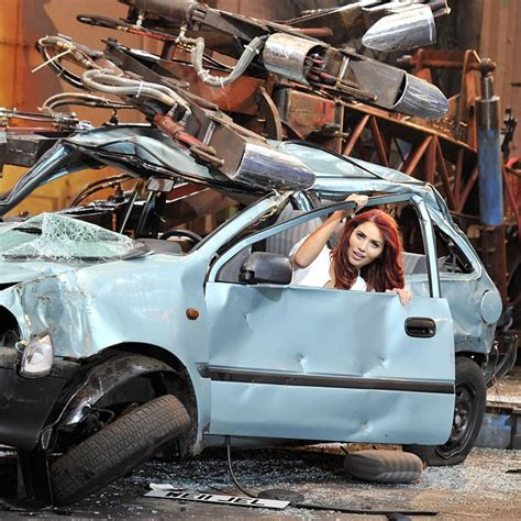 wrecked car before and after amy childs flips her range rover a week after she posed
