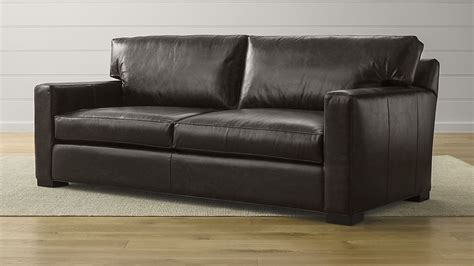 axis ii 2 seat espresso leather couch crate and barrel