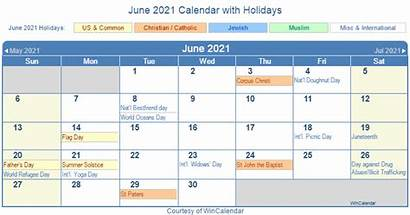 Calendar June Holidays Printable States United Holiday