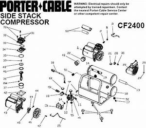 Porter Cable Cf2400 Oil Free Compressor  Breakdown  Parts