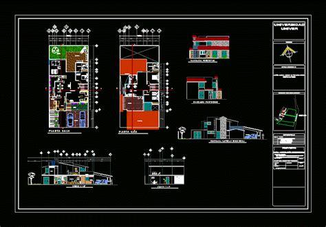 modern  story house  garage  dwg plan  autocad