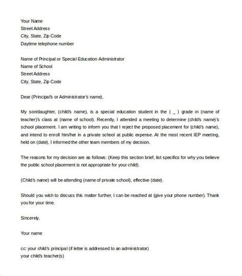 school letter  intent templates