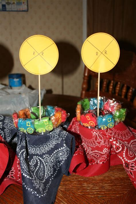 railroad themed table centerpiece decorations