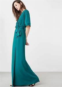 Robe bleue longue mango avec belle ceinture facon cache for Robe cache coeur mango