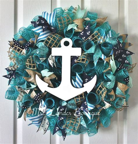 coastal door wreaths teal and navy blue nautical wreath anchor wreath