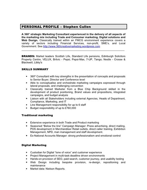 Personal Profile Ideas For Resume by Cv Personal Profile Project Manager Writing Lab