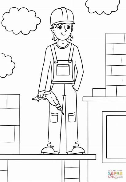 Worker Construction Coloring Pages Printable Fantastic Professions