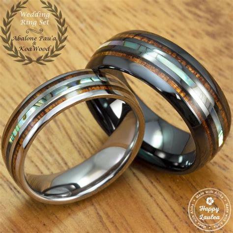 black ceramic  tungsten wedding ring set  abalone