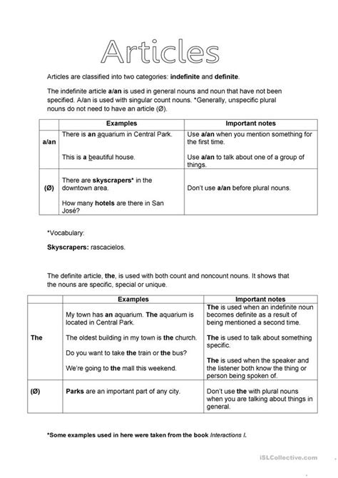 use of the articles worksheet free esl printable