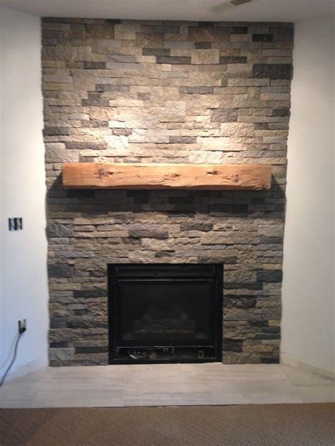 basement fireplace  airstone reclaimed beam