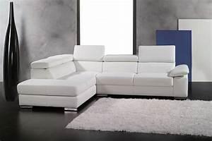 Canape Angle Cuir Blanc : canap d 39 angle en cuir italien 5 places helios blanc mobilier priv ~ Teatrodelosmanantiales.com Idées de Décoration