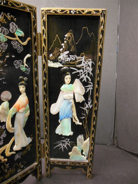 minature japanese mother  pearl  panel screen