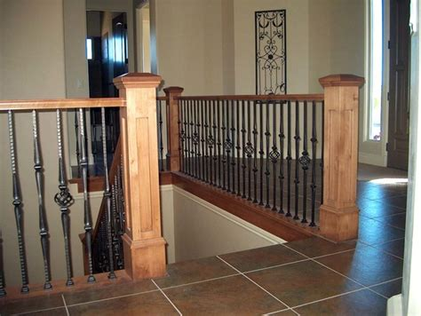 Banister And Baluster by Wood Railing With Wrought Iron Balusters Traditional