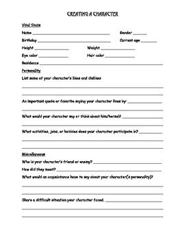 creating a character worksheet by kristin pitts tpt