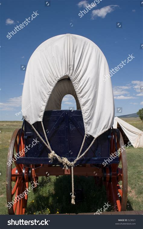 view conestoga wagon  army stock photo