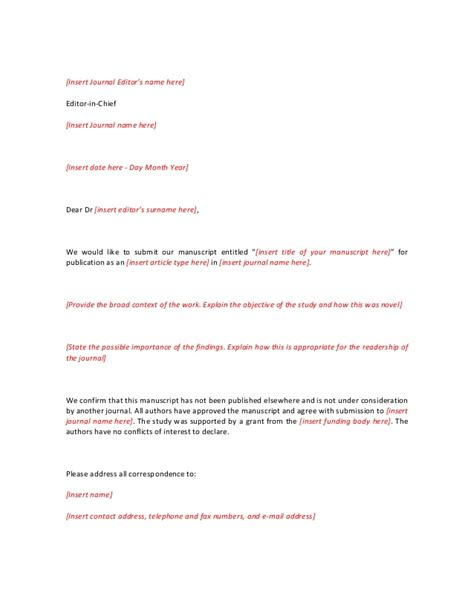 journal covering letter sample covering letter
