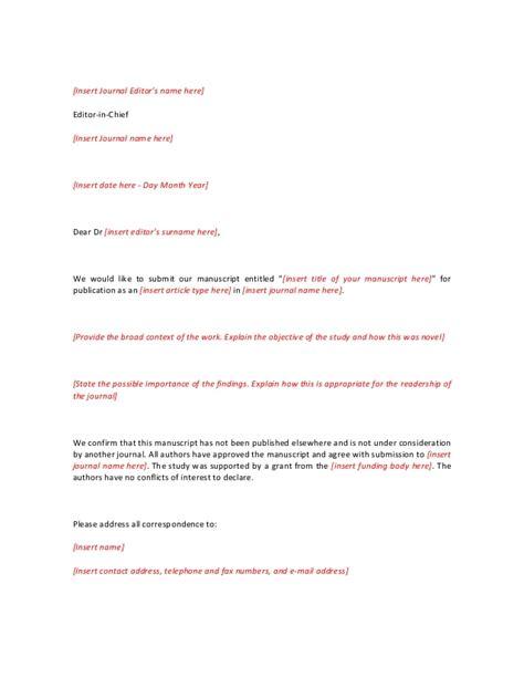 journal covering letter sample covering letter
