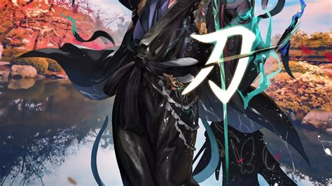 Download 1920x1080 Anime Boy Japanes Outfit Sword Water