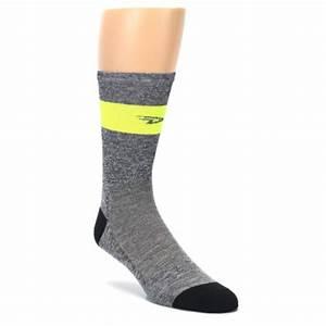 Gray Neon Yellow Stripe Men's Crew Athletic Socks DeFeet
