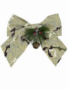 Fabric, Bow, Decoration, With, Pine, Needles, U0026, Bell