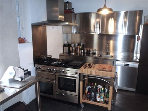 meuble cuisine en inox porte coulissante meuble cuisine amnagement