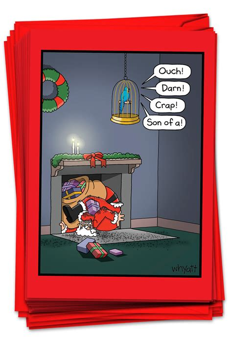Nice and funny cards, it was fun sending them out! 12 Boxed Christmas Cards Bulk - Funny Cartoon Santa Claus ...