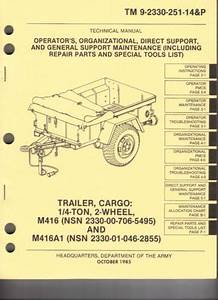 Trailer Cargo 1 4 Ton 2 Wheel M416 And M416a1 Maint Parts