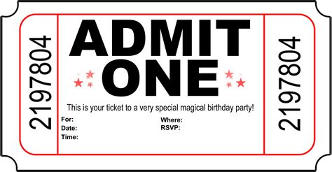 birthday invitation templates ticket 13 invitation card for children s party 169 to owner
