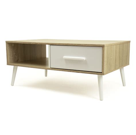 Take the warmth and versatility that a wood coffee table. Humble Crew Low Mid-Century Coffee Table with Open Shelf and Drawer Storage, Light Wood/White ...