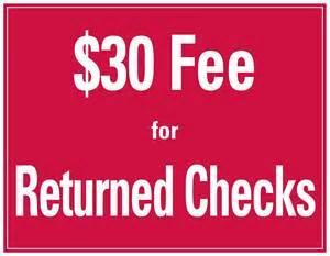 Returned Check Fee Sign