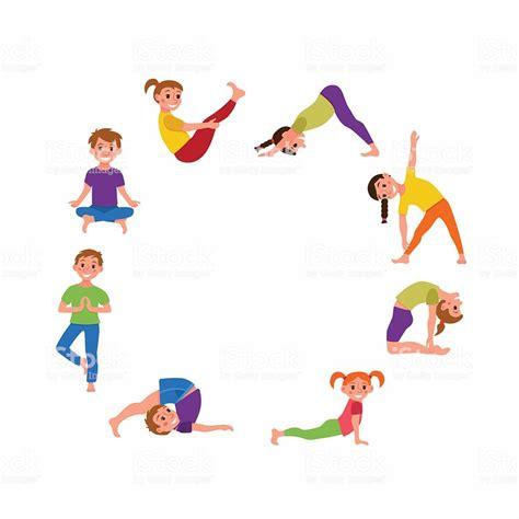 yoga kids poses set stock vector art  istock