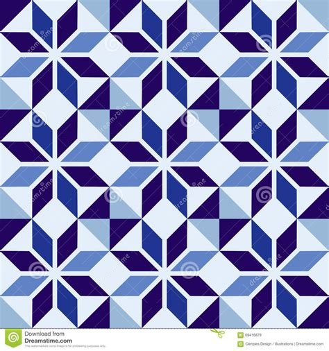 traditional portuguese blue mosaic tile pattern stock