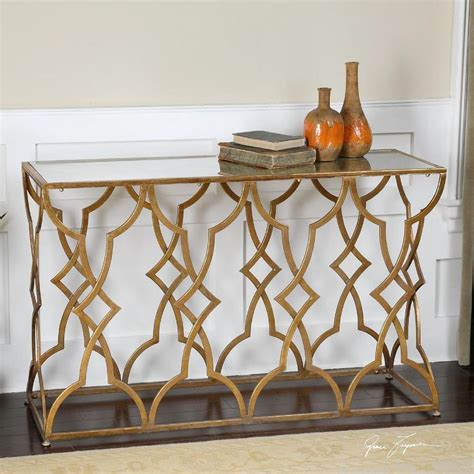 Uttermost Entry Tables by Gold Leaf Trim Mirrored Console Table