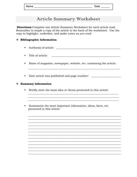 Article Summary Worksheet Worksheets Kristawiltbank Free Printable Worksheets And Activities