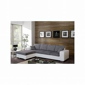 Canapé D Angle 5 Places : canap d 39 angle 5 places harmonia tissu simili cuir design pas cher ~ Teatrodelosmanantiales.com Idées de Décoration