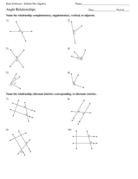 Alt Interior Angle Worksheets  Kuta Software Infinite Pre Algebra Name Angle Relationships Date