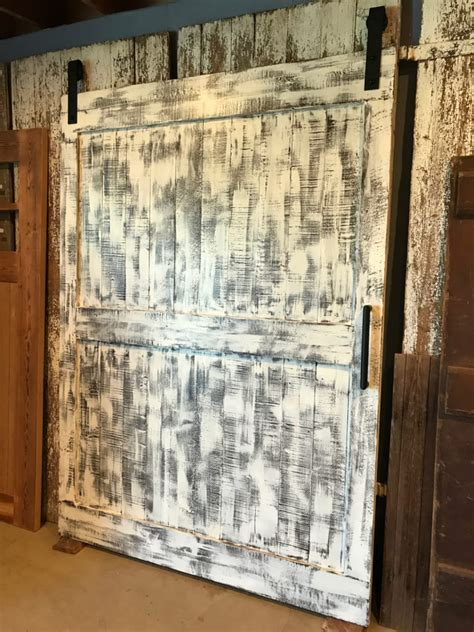 ranch style barn door  distressed white furniture