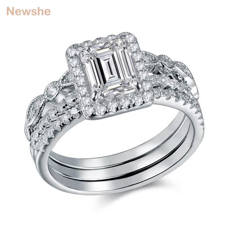 newshe 3 pcs wedding ring trendy jewelry 2 ct princess cut aaa cz solid 925 sterling silver