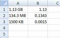 Excel Unit Conversion Mb Gb Kb Etc Stack Overflow