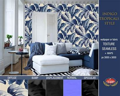 Tropical Texture Seamless Leaves Indigo Wallpapers Sketchup