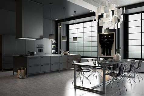 moody monochromatic kitchen design   masculine feel