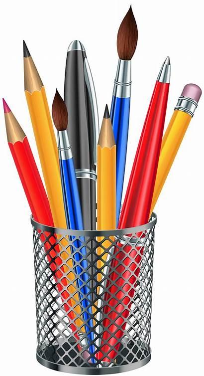 Transparent Cup Clipart Pencil Supplies Clip Metal