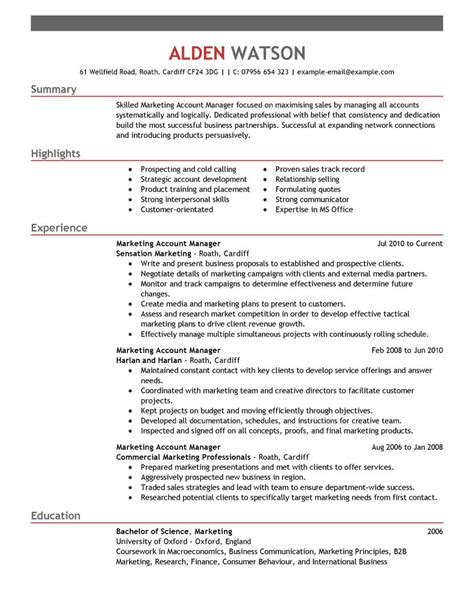 best account manager resume exle livecareer
