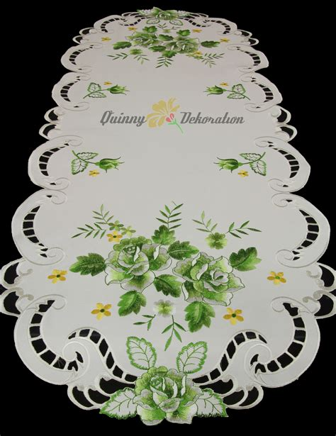 Rosen Mitteldecke Tischdecke Tischläufer Decke Weiß Mit