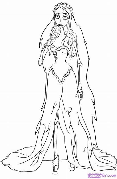 Corpse Bride Coloring Pages Burton Tim Emily