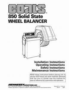 Coats 850 Solid State Wheel Balancer User Manual